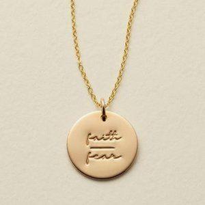 NEW ''Faith/Fear'' Gold Coin Disc Charm Necklace
